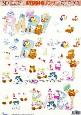 Baby Wording With Cute Animals 3d Decoupage Craft Sheet